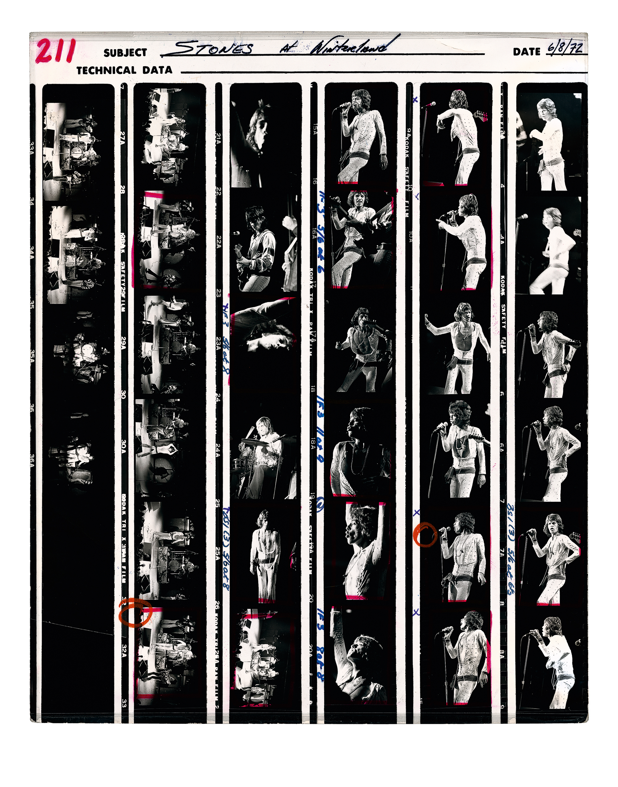 a contact sheet of photos of the rolling stones