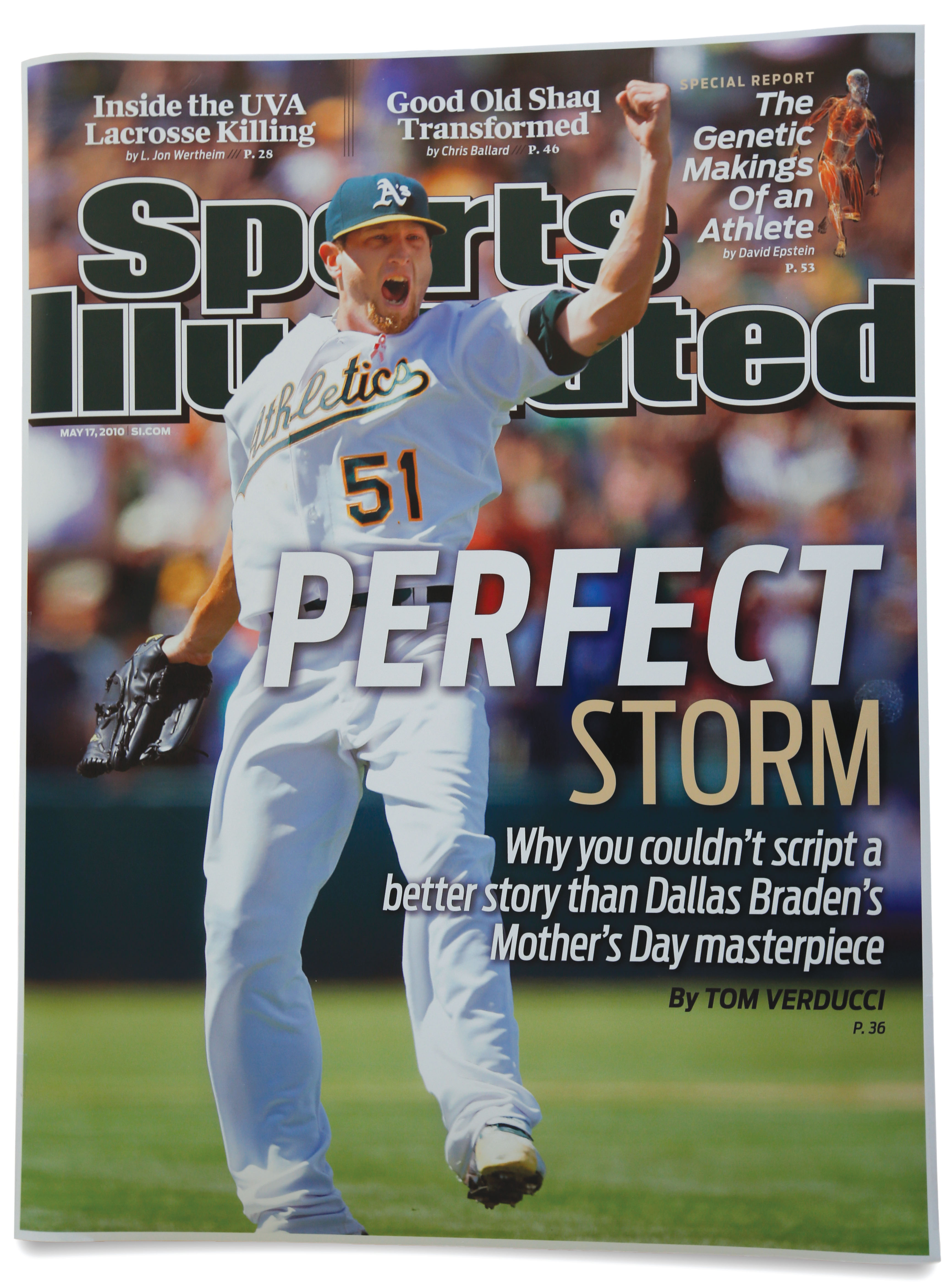 a sports illustrated cover of oakland athletics pitcher dallas braden celebrating after winning a baseball game