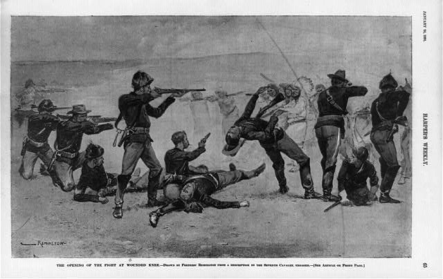 This illustration from 1891 depicts the start of the Wounded Knee Massacre.  (Library of Congress)