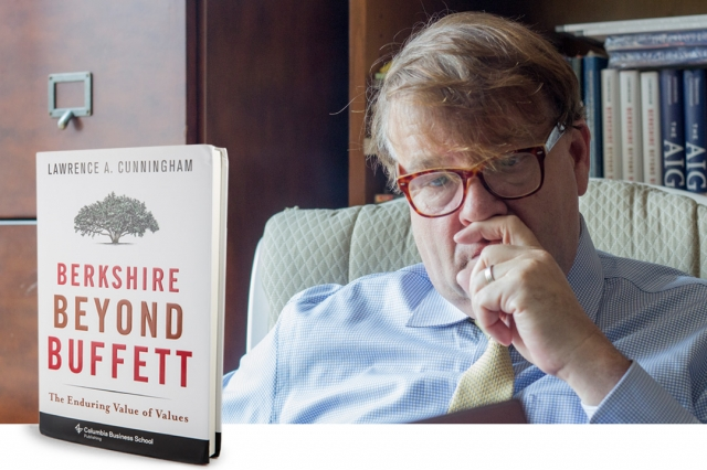 Photo of author Lawrence A. Cunningham and his book Berkshire Beyond Buffett