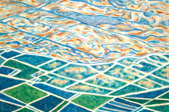 a painting of fields from a high vantage point